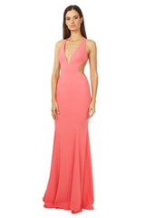 Jay Godfrey Deep-V Gown in Coral - Front View