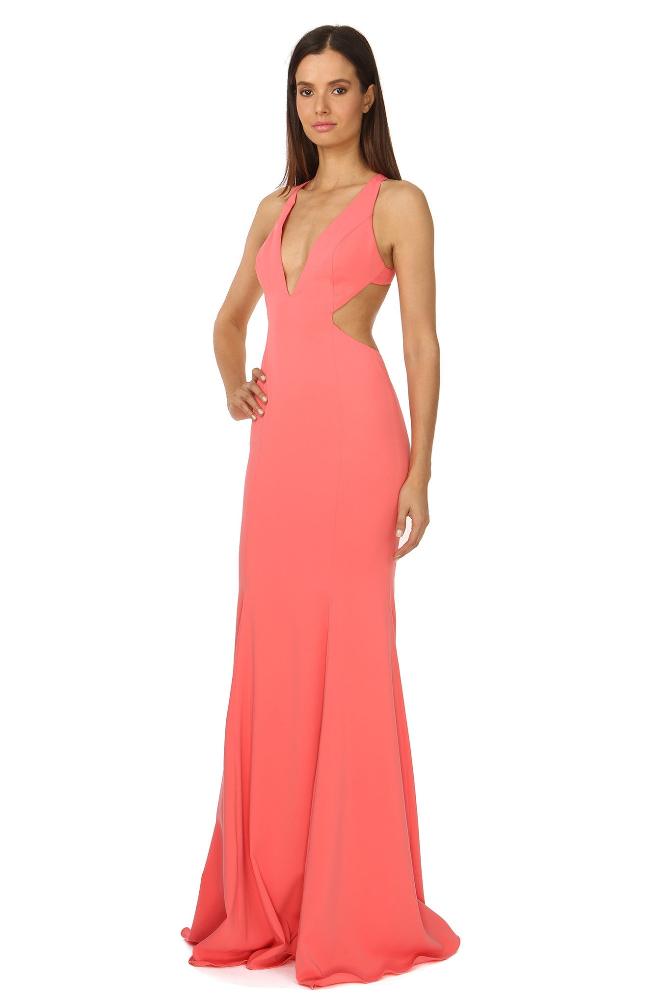 Jay Godfrey Deep-V Gown in Coral - Side View
