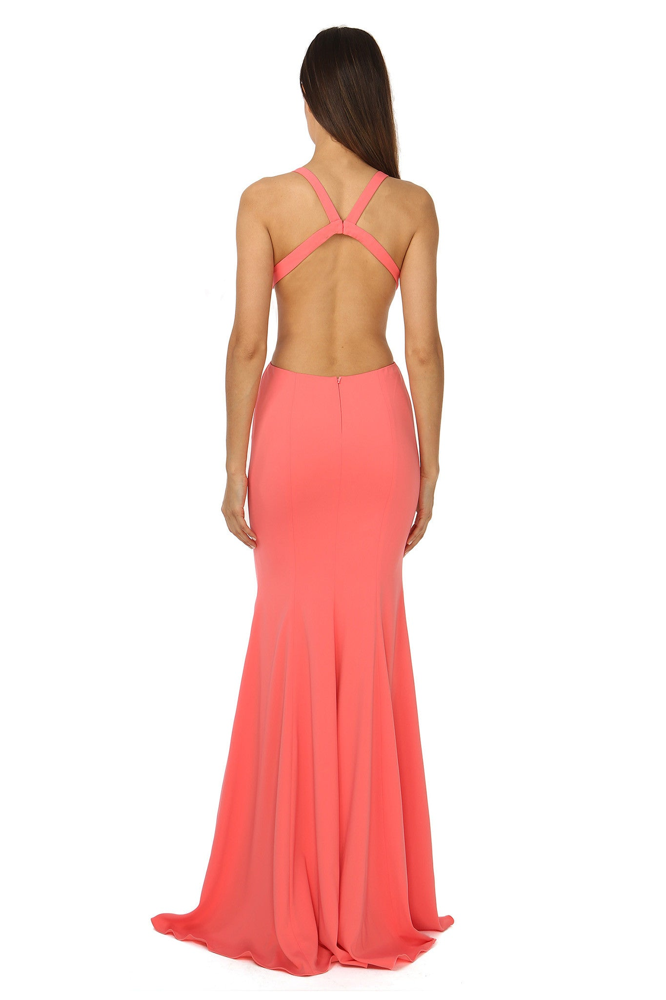 Jay Godfrey Deep-V Gown in Coral - Back View