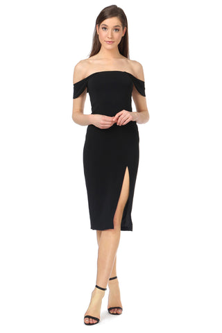 DOWNIE BLACK OFF-SHOULDER MIDI DRESS