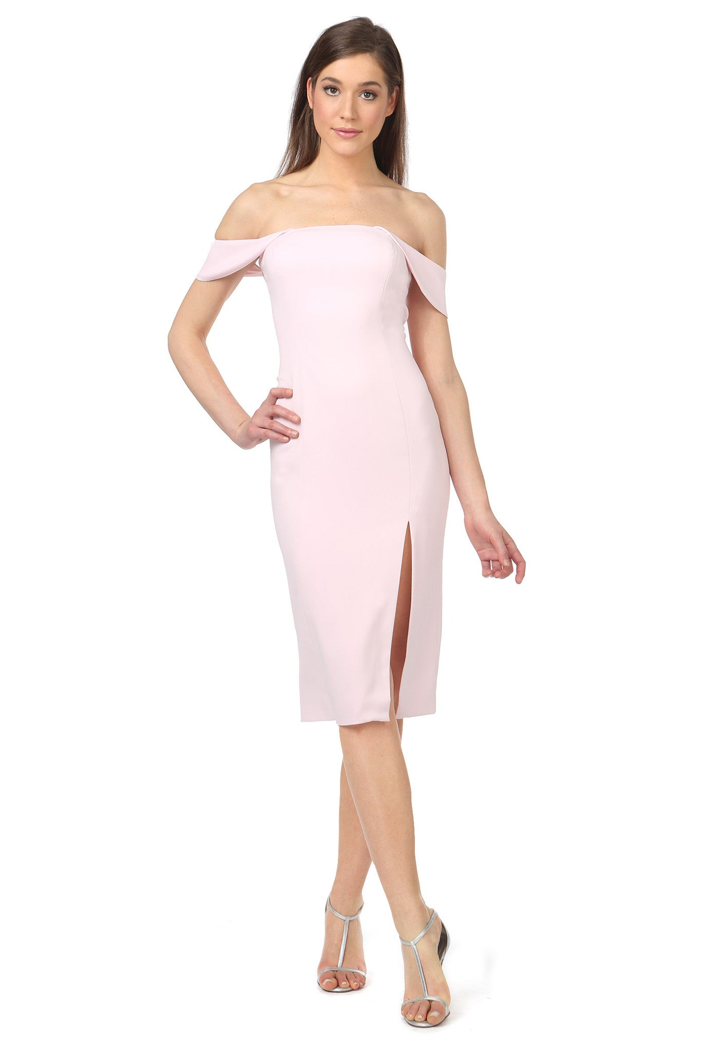 Jay Godfrey Light Pink Off-the-Shoulder Dress - Front View