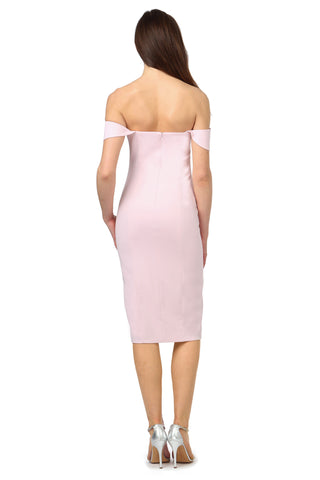 DOWNIE PALE PINK OFF-SHOULDER MIDI DRESS
