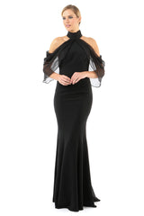 Jay Godfrey Black Cold-Shoulder Dress - Front View