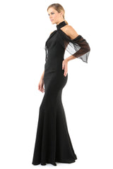 Jay Godfrey Black Cold-Shoulder Dress - Side View