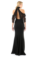 Jay Godfrey Black Cold-Shoulder Dress - Back View