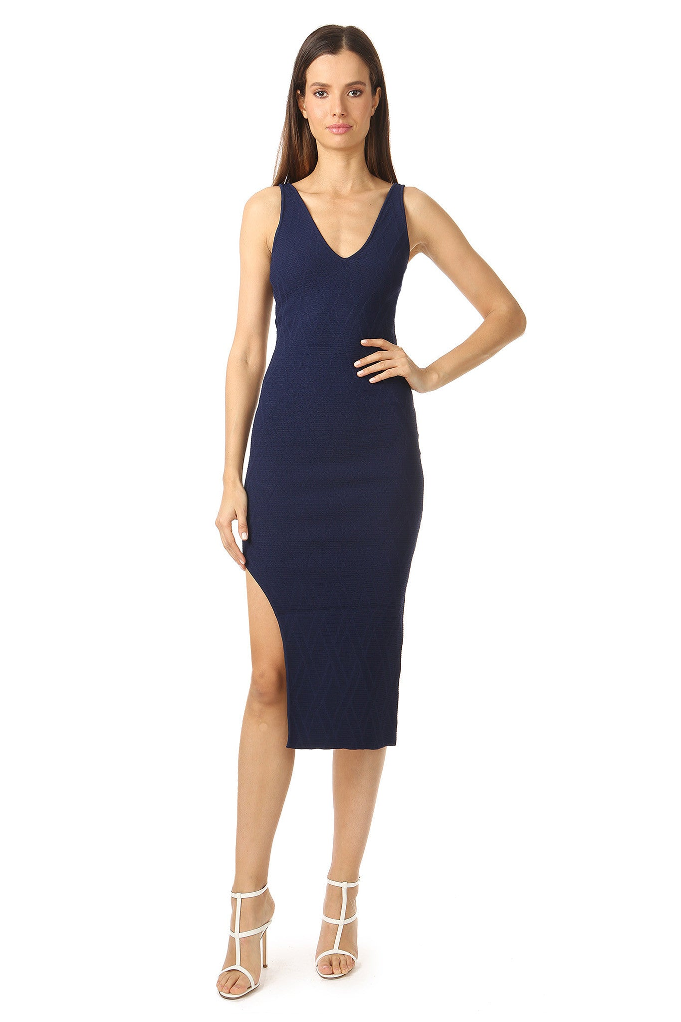 Jay Godfrey Navy Body-Con Dress - Front View