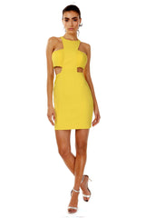 Jay Godfrey Yellow High-Neck Cut-Out Dress - Front View