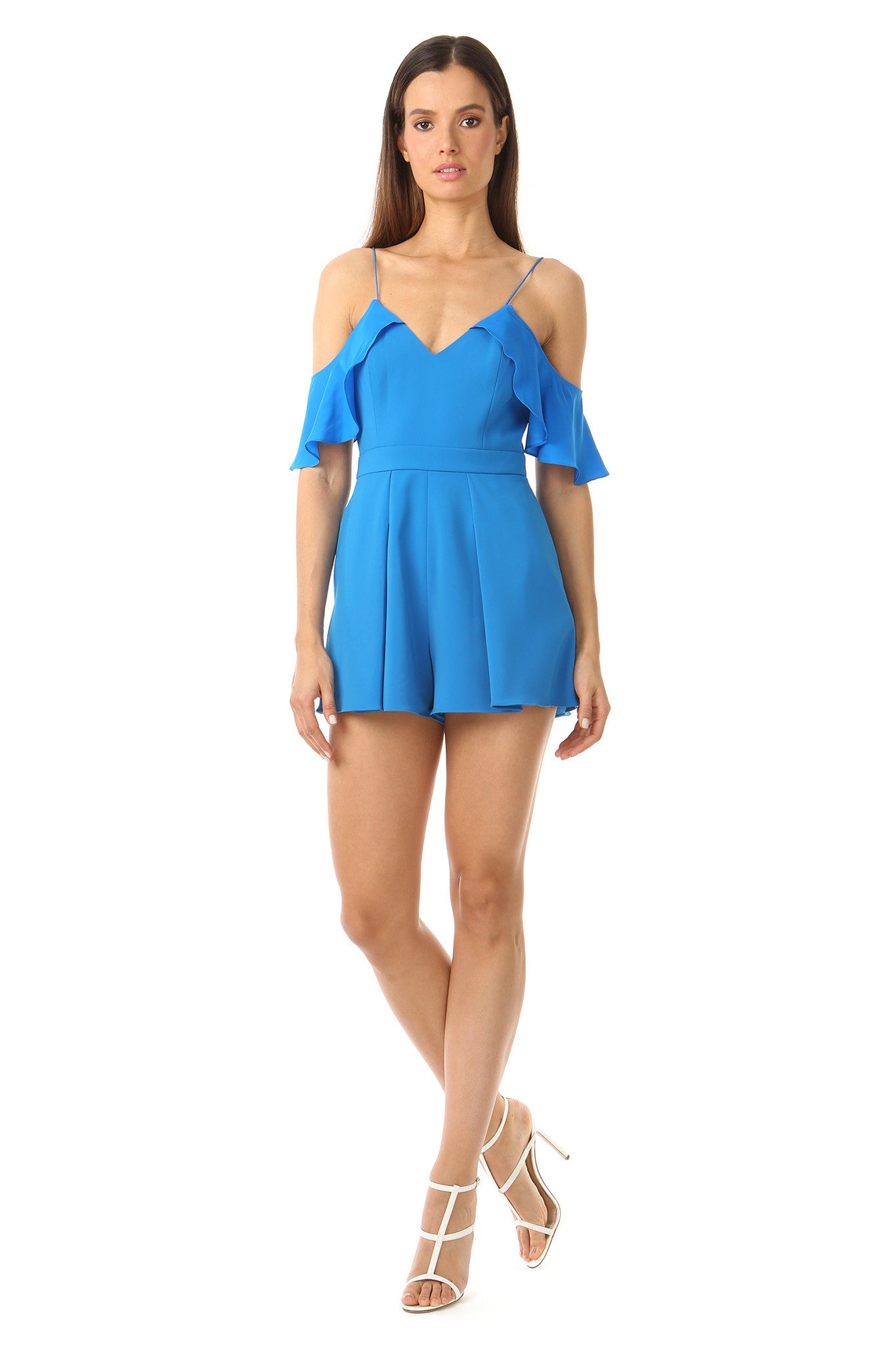 Jay Godfrey Bright Blue Cold-Shoulder Romper - Front View