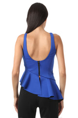 Jay Godfrey Cobalt Peplum Top - Back View