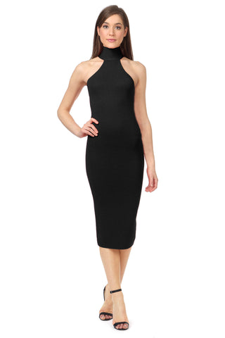 FOX BLACK KNIT MIDI DRESS