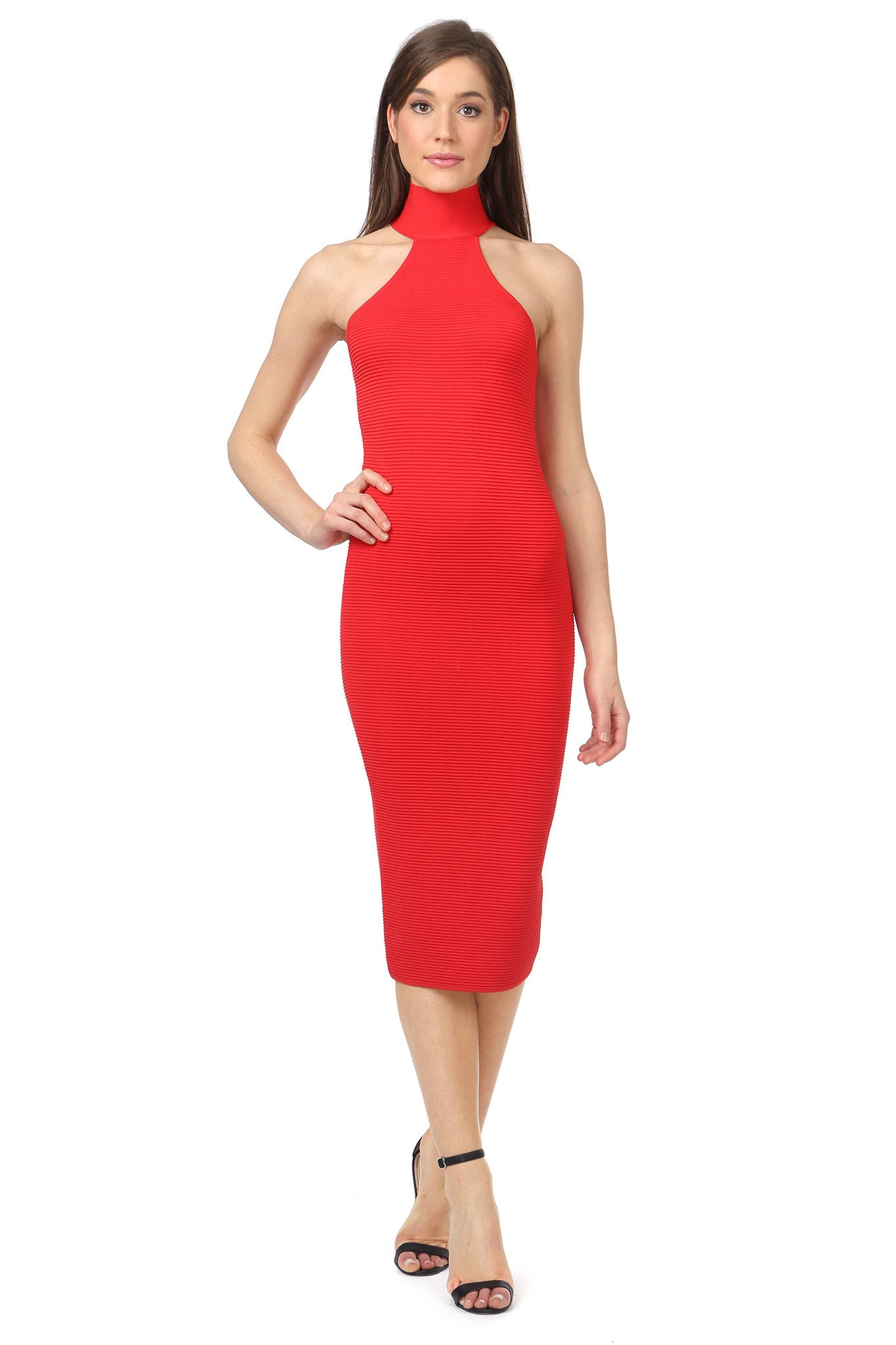 Jay Godfrey Red Body-Con Dress - Front View