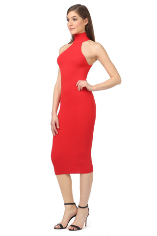FOX CORAL RED KNIT MIDI DRESS