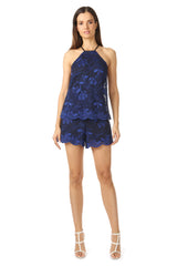 Jay Godfrey High Neck Navy Lace Romper - Front View