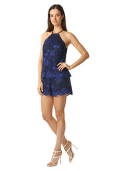 Jay Godfrey High Neck Navy Lace Romper - Side View