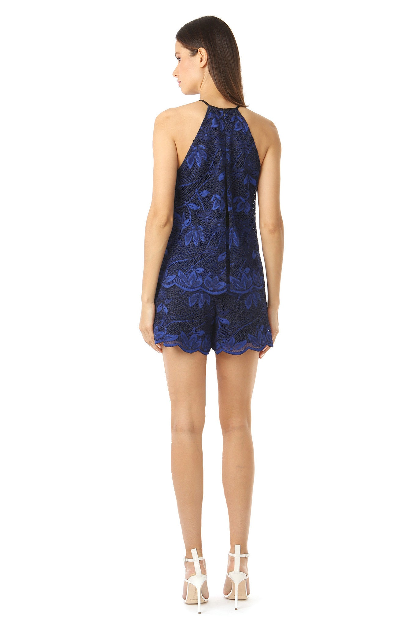 Jay Godfrey High Neck Navy Lace Romper - Back View