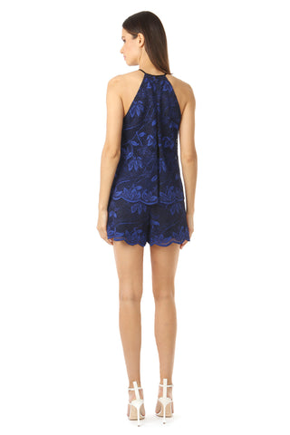 FRANKLIN NAVY LACE HIGH-NECK ROMPER