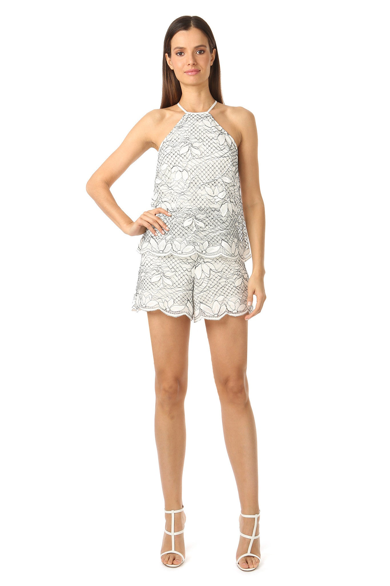 Jay Godfrey High Neck White Lace Romper - Front View