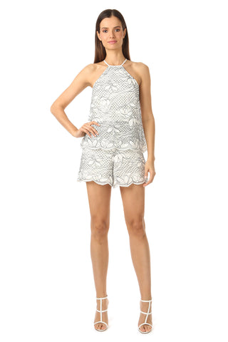 FRANKLIN WHITE LACE HIGH-NECK ROMPER