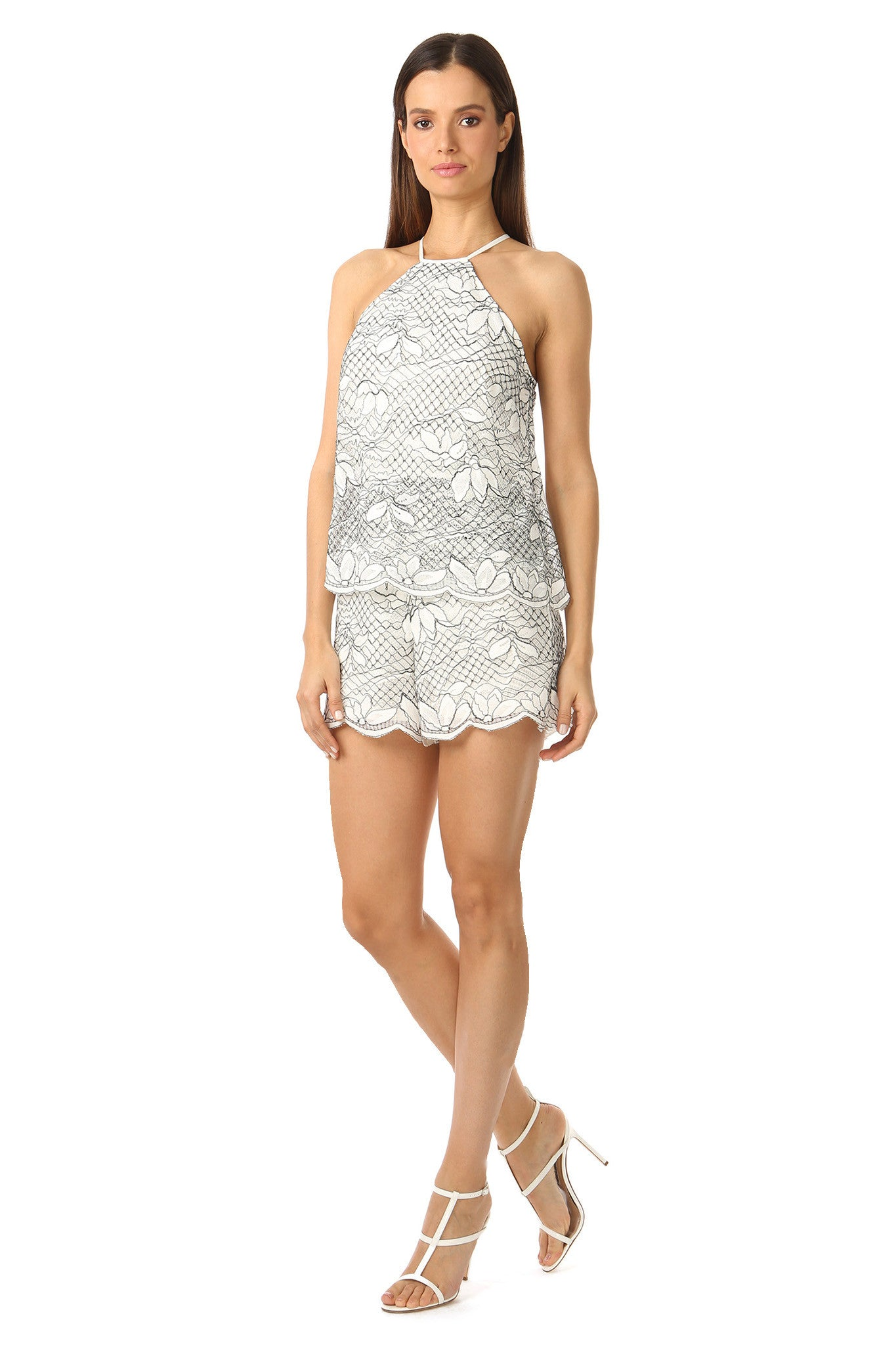 Jay Godfrey High Neck White Lace Romper - Side View