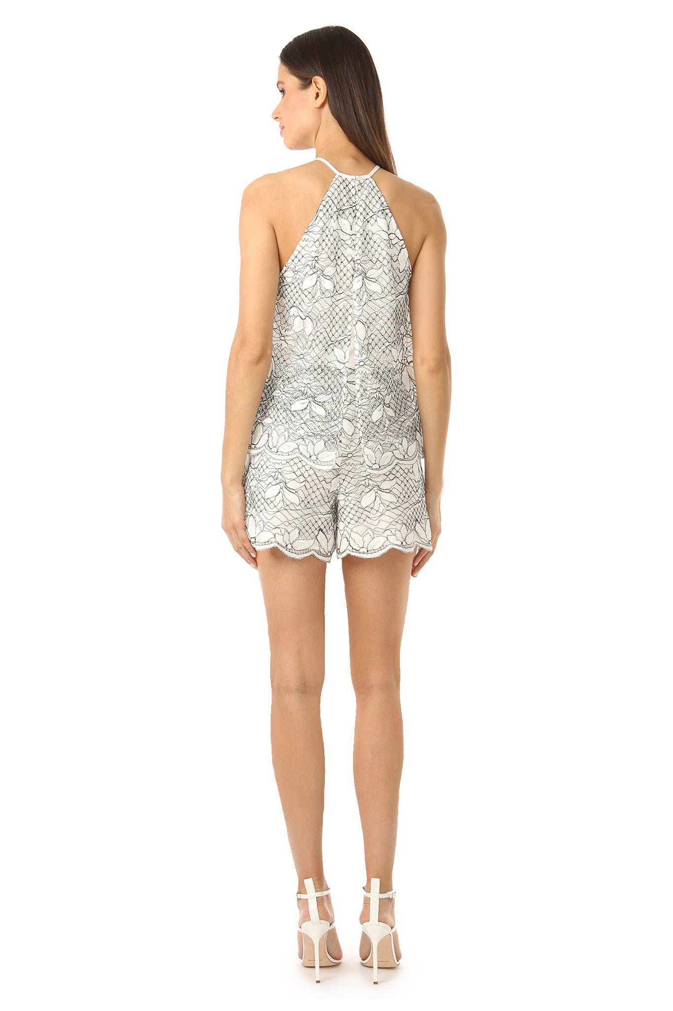 Jay Godfrey High Neck White Lace Romper - Back View