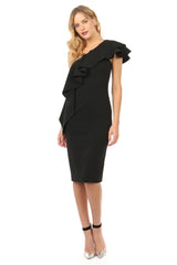 Jay Godfrey Black Ruffle One Shoulder Dress - Front View