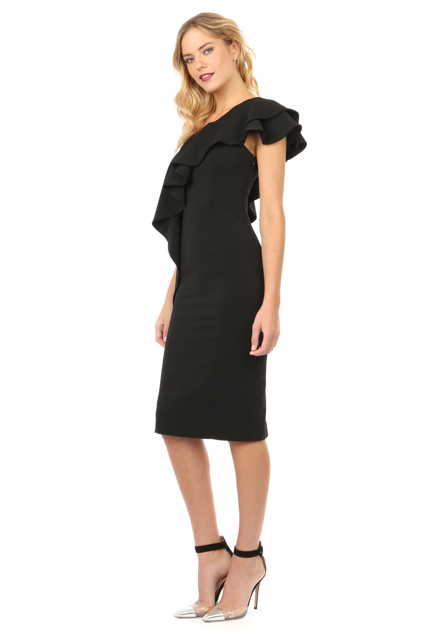 Jay Godfrey Black Ruffle One Shoulder Dress - Side View