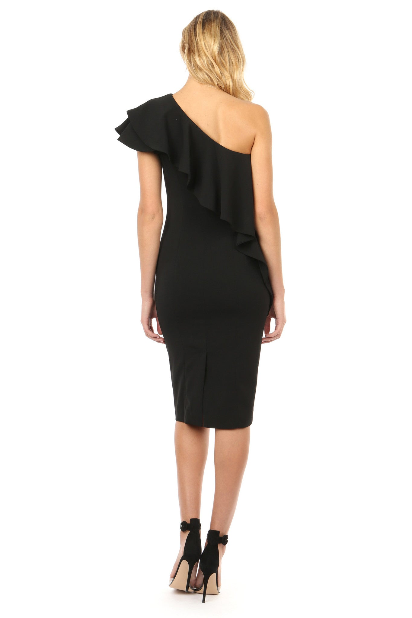 Jay Godfrey Black Ruffle One Shoulder Dress - Back View