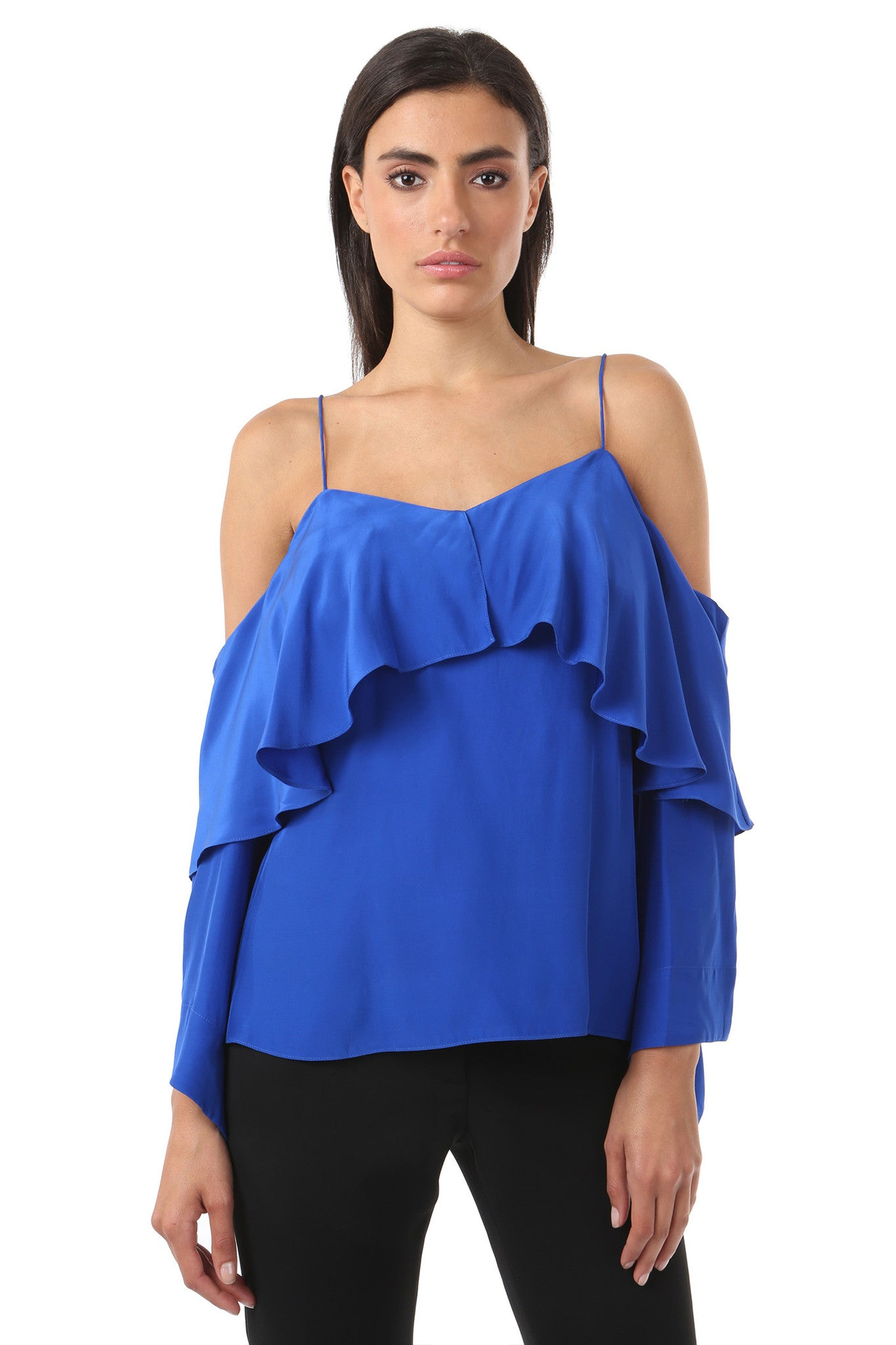 Jay Godfrey Cobalt Cold Shoulder Ruffle Top - Front View