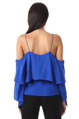 Jay Godfrey Black Cold Shoulder Ruffle Top - Back View