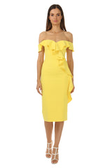 Jay Godfrey Off-the-Shoulder Yellow Dress - Front View