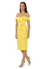 Jay Godfrey Off-the-Shoulder Yellow Dress - Side View