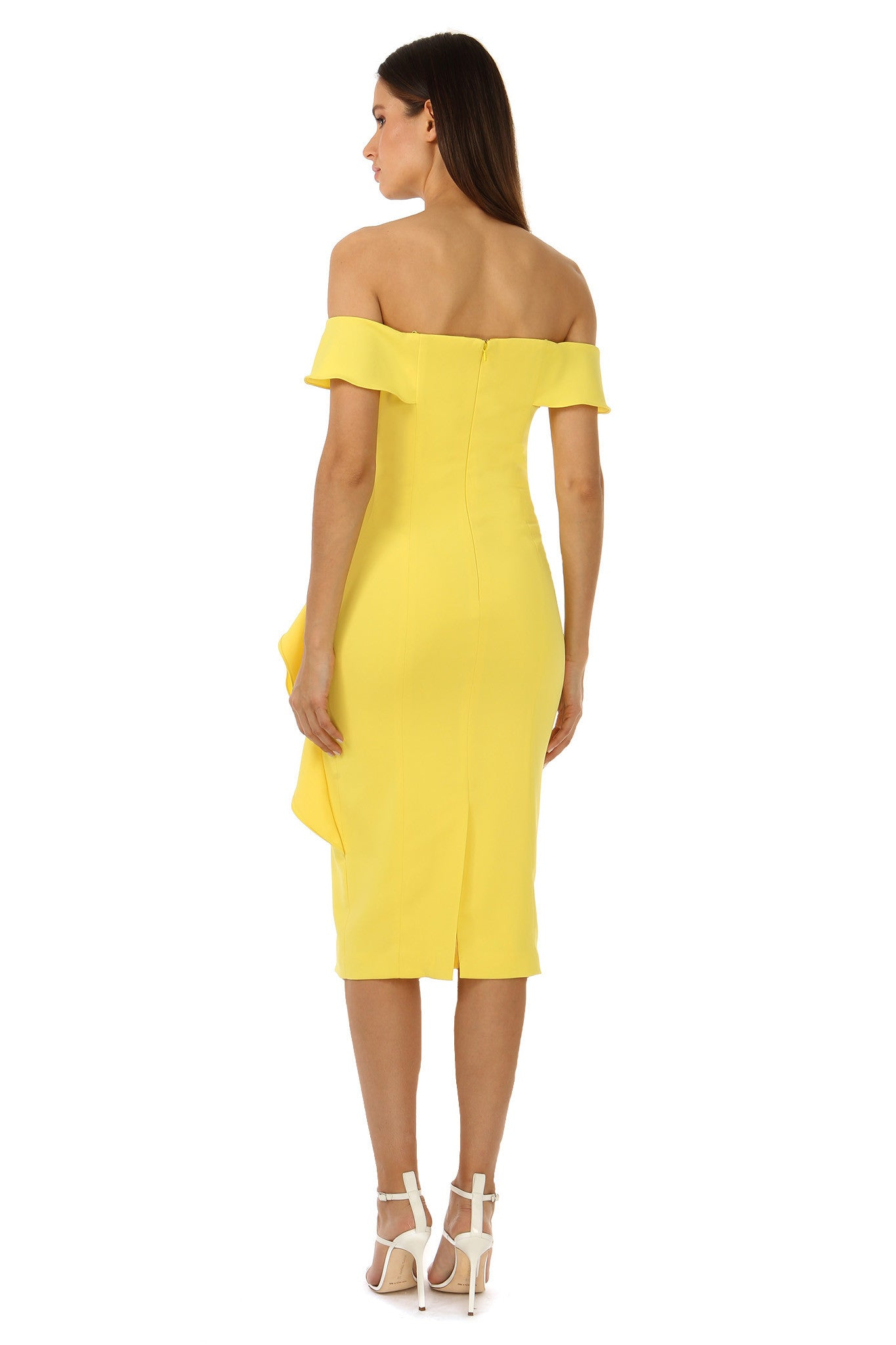 Jay Godfrey Off-the-Shoulder Yellow Dress - Back View