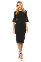 Jay Godfrey Black Lace Bell Sleeve Dress - Front View