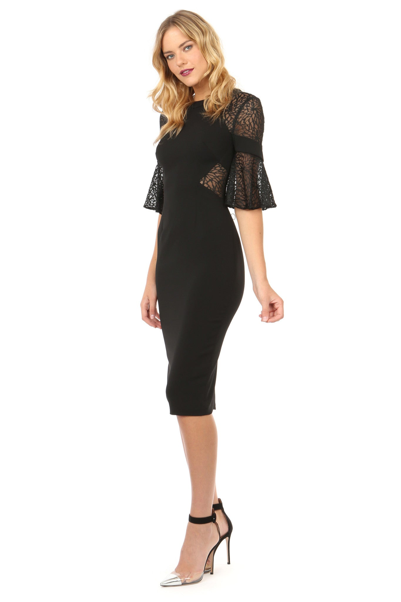 Jay Godfrey Black Lace Bell Sleeve Dress - Side View