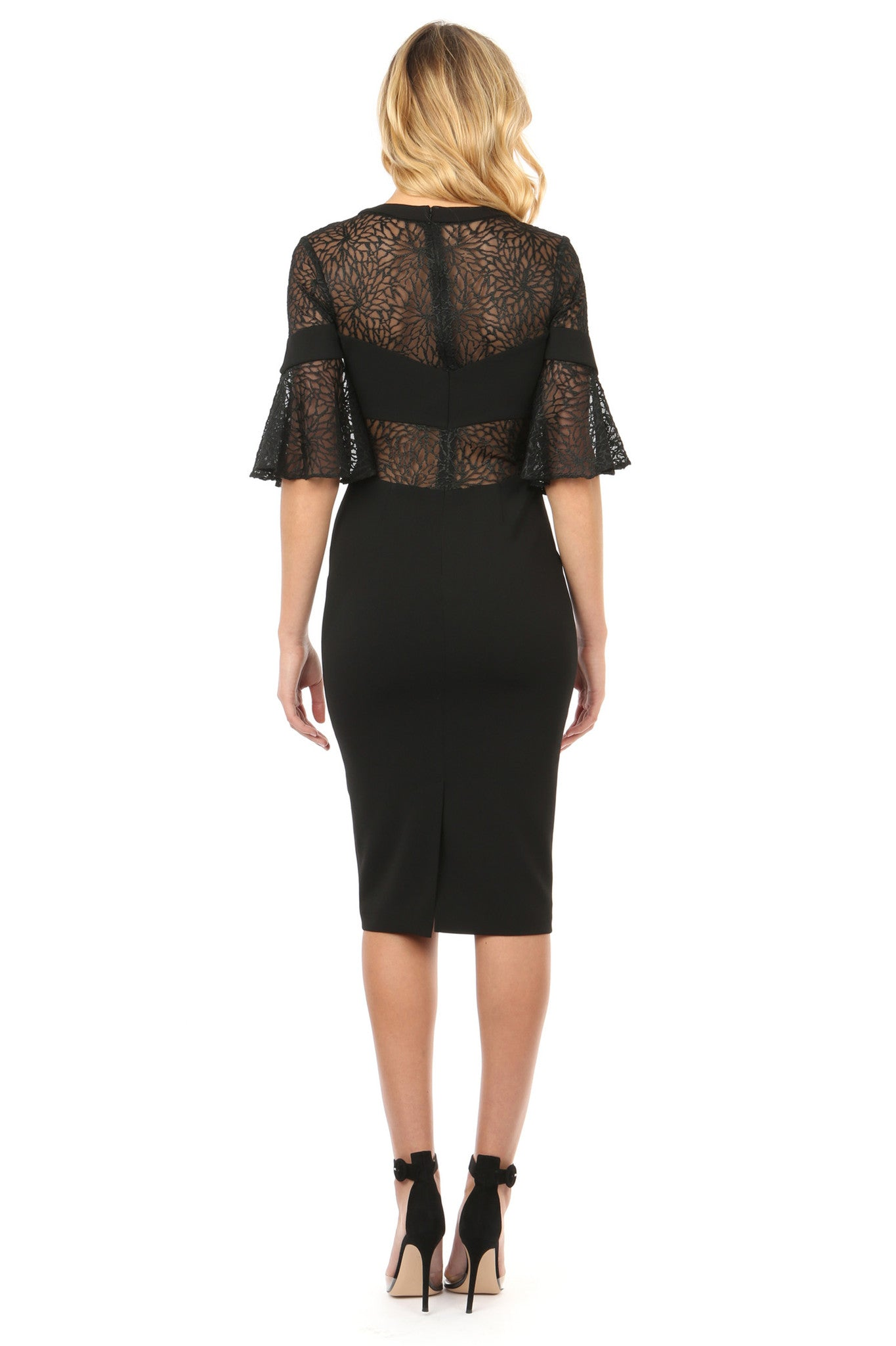 Jay Godfrey Black Lace Bell Sleeve Dress - Back View