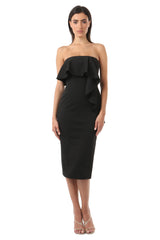 Jay Godfrey Black Sleeveless Ruffle Dress - Front View