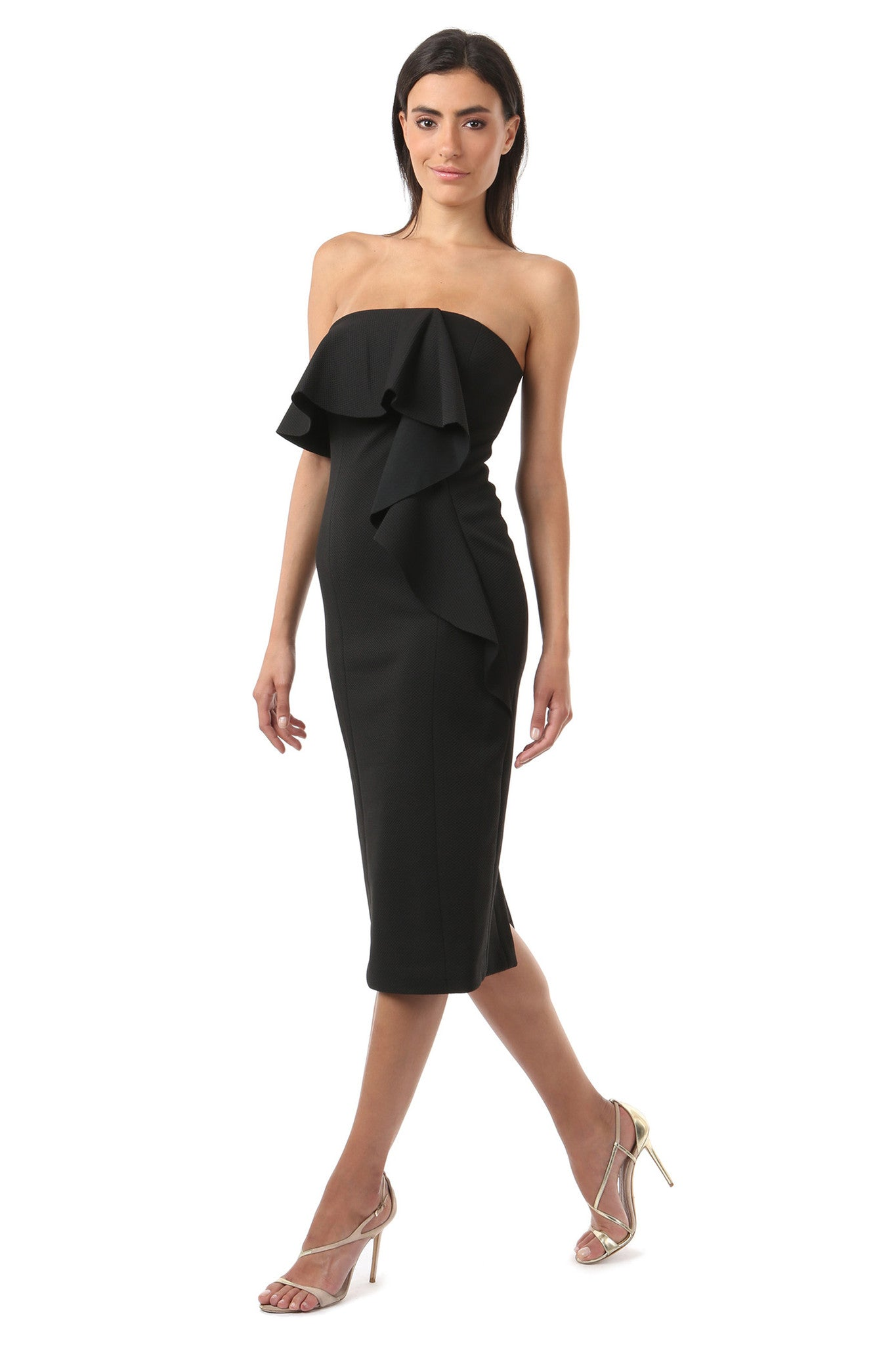 Jay Godfrey Black Sleeveless Ruffle Dress - Side View