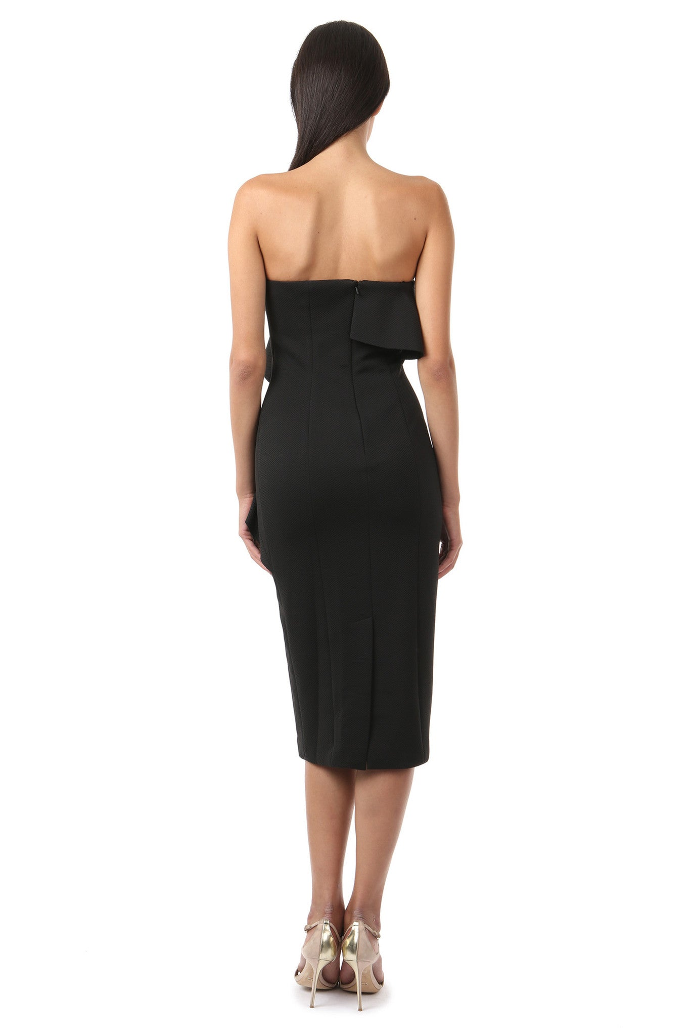 Jay Godfrey Black Sleeveless Ruffle Dress - Back View