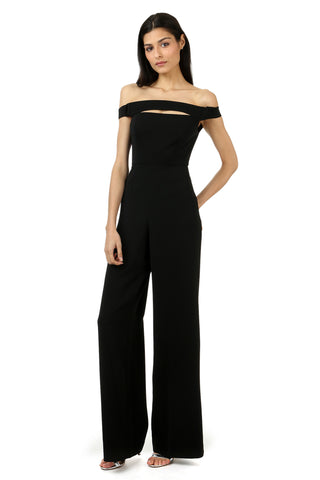 GUY BLACK OFF-THE-SHOULDER CUT-OUT JUMPSUIT
