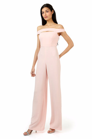 GUY ROSETTE OFF-THE-SHOULDER CUT-OUT JUMPSUIT