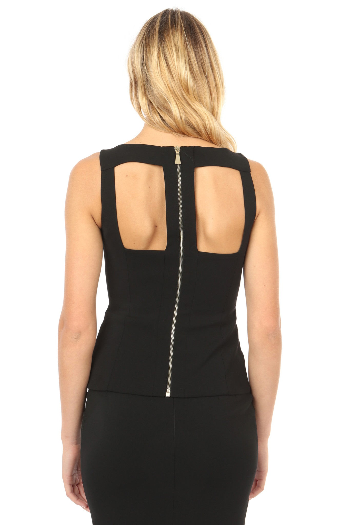 Jay Godfrey Black Cut-Out Top - Back View