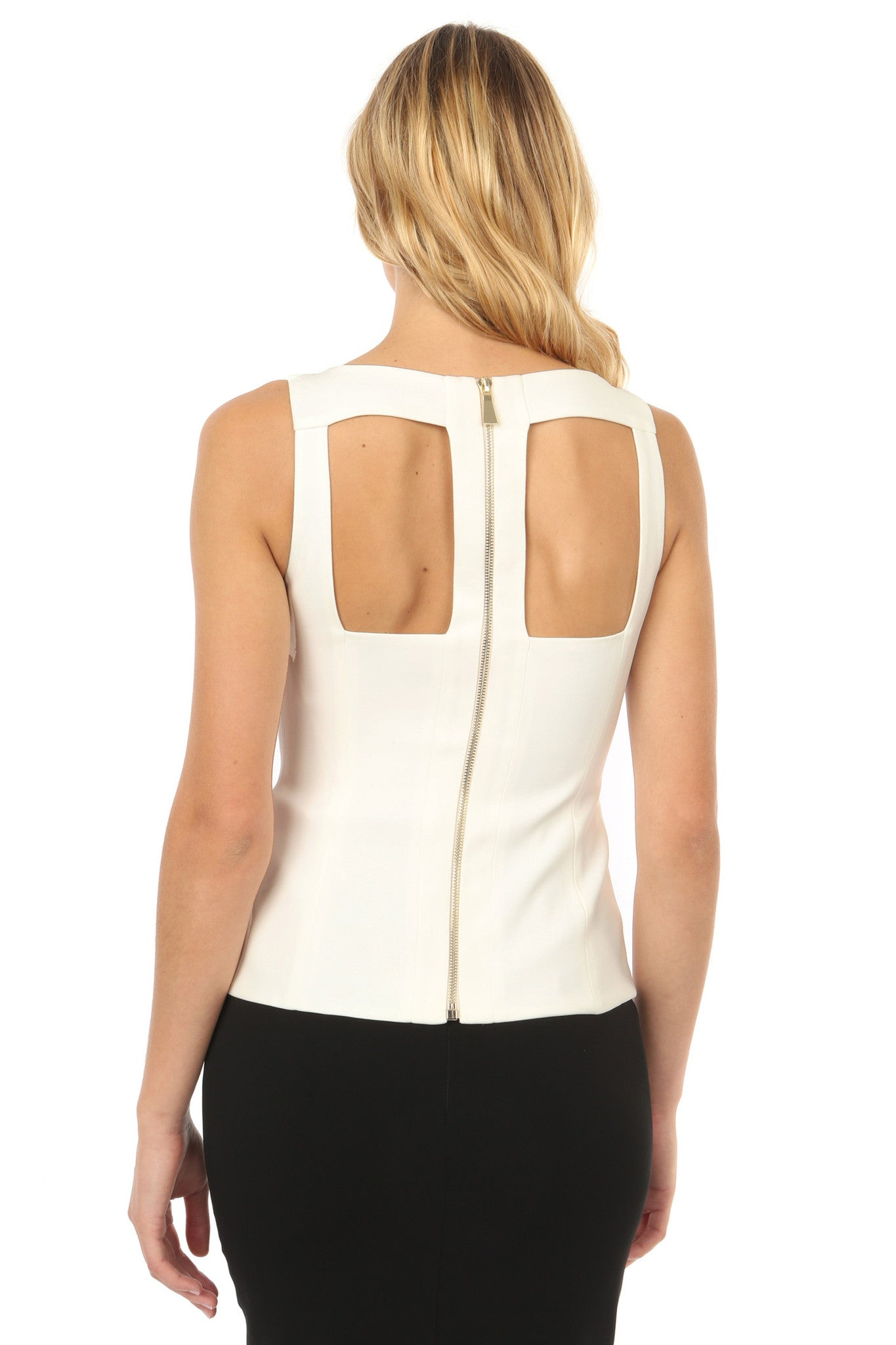 Jay Godfrey Ivory Cut-Out Top - Front View
