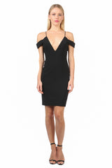 Jay Godfrey Black Strappy Off-Shoulder Dress  - Front View