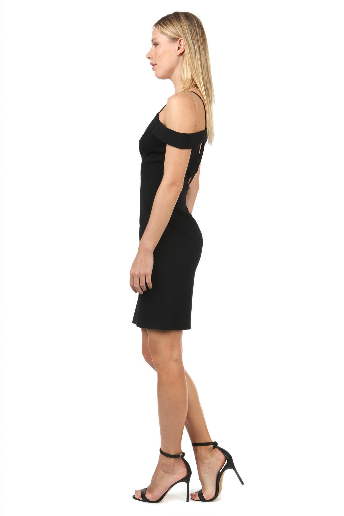 Jay Godfrey Black Strappy Off-Shoulder Dress  - Side View