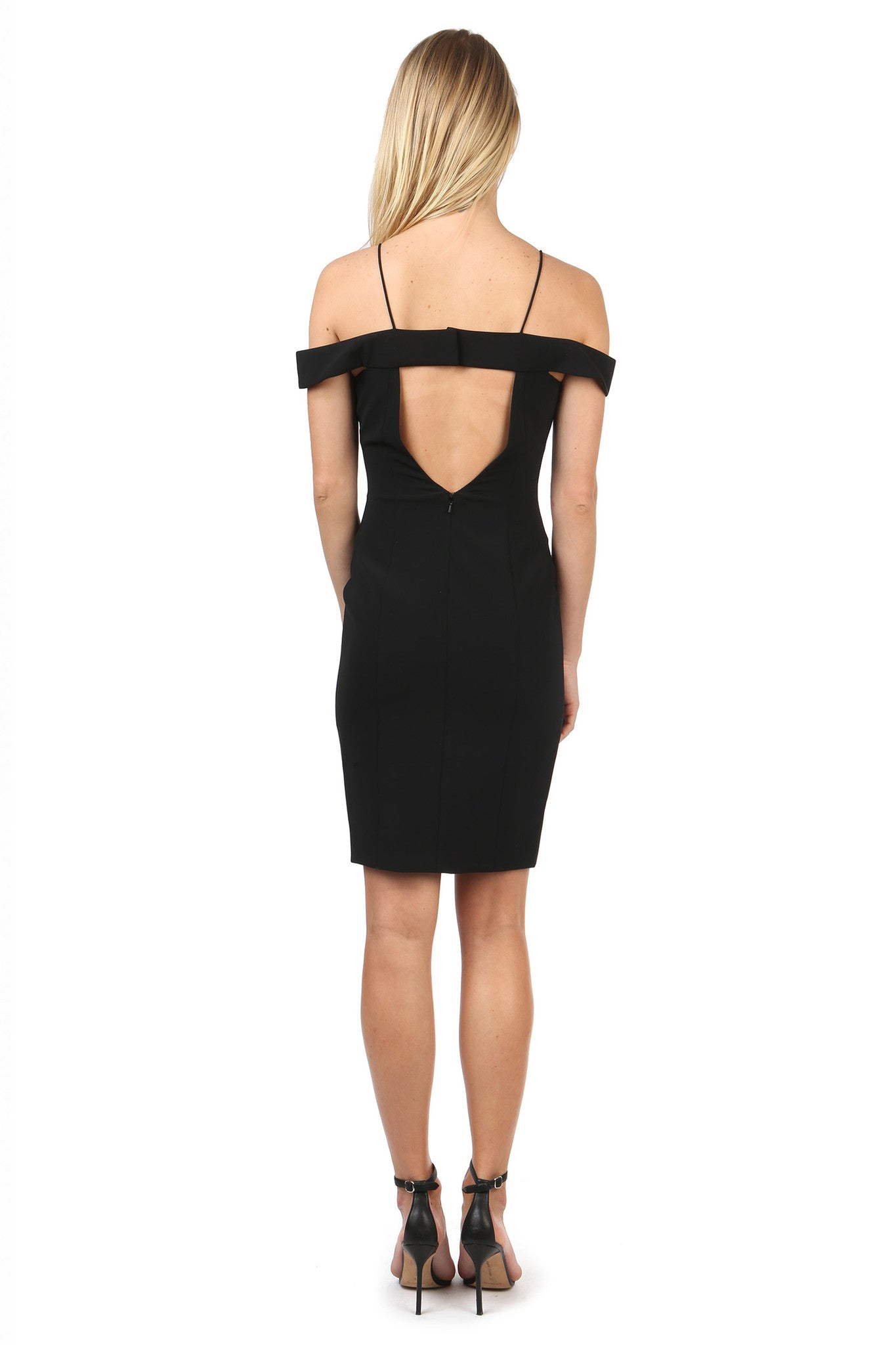 Jay Godfrey Black Strappy Off-Shoulder Dress  - Back View
