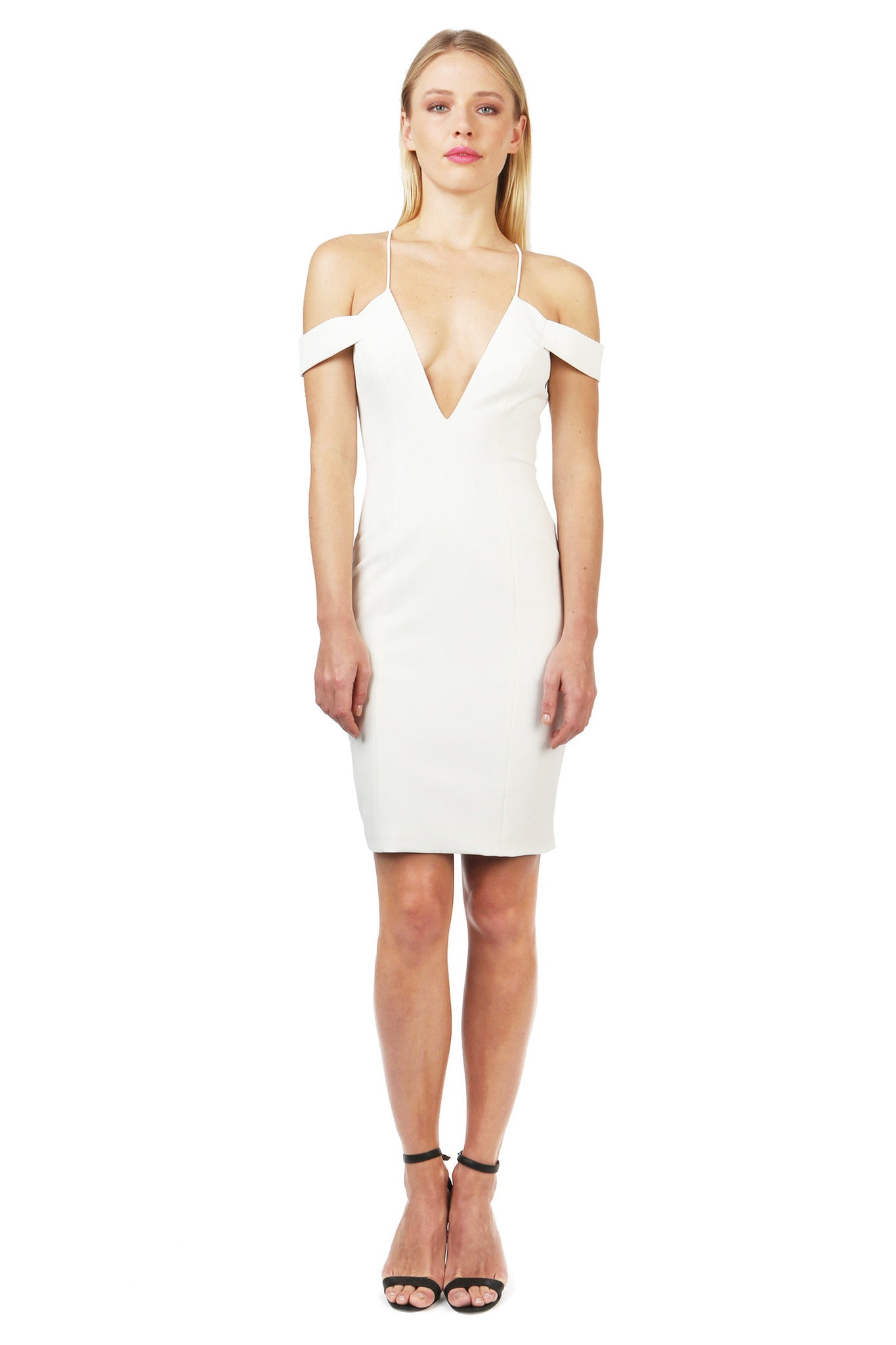 Jay Godfrey Ivory Strappy Off-Shoulder Dress  - Front View