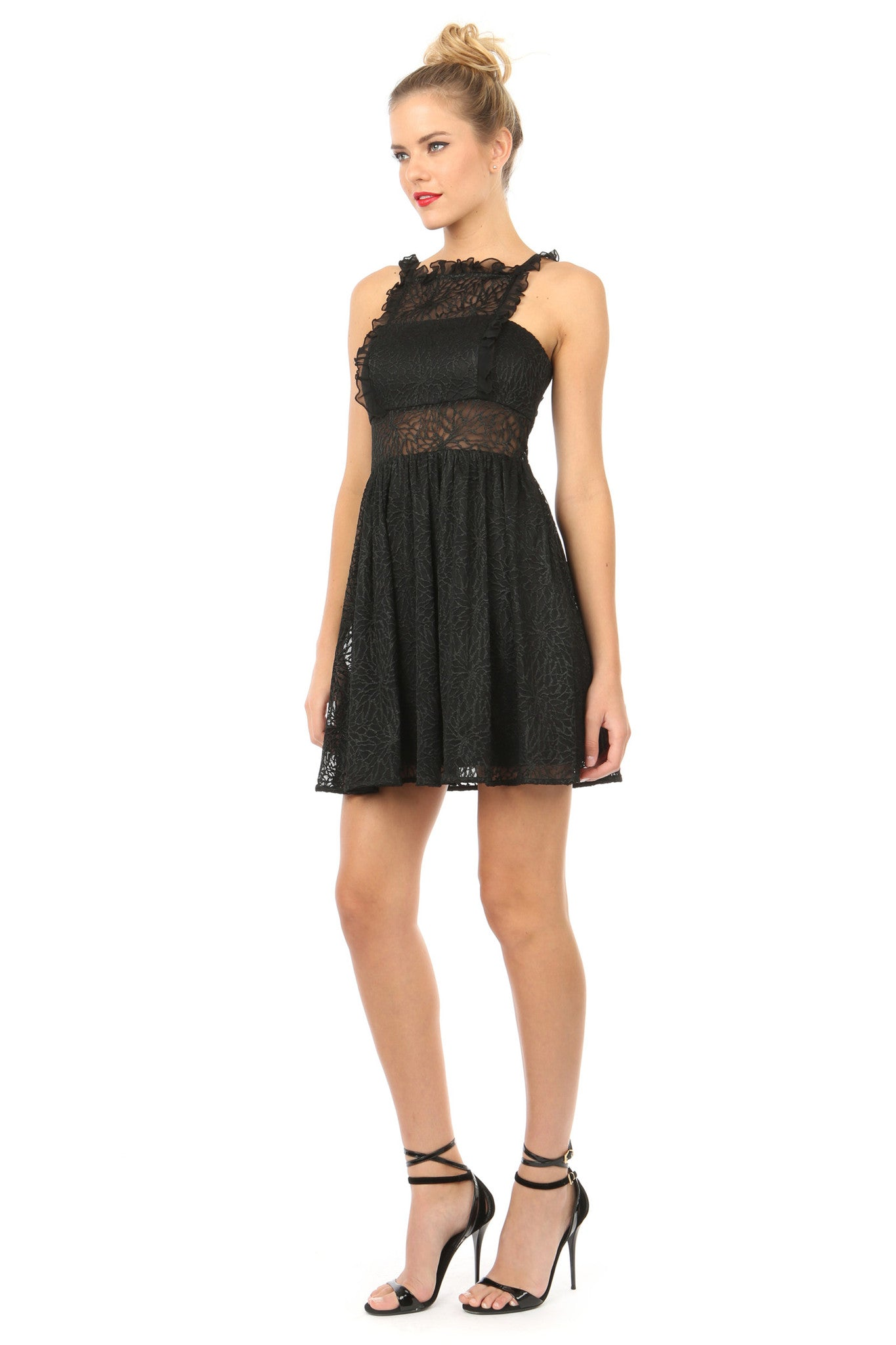 Jay Godfrey Black Lace Fit-and-Flare Dress - Side View