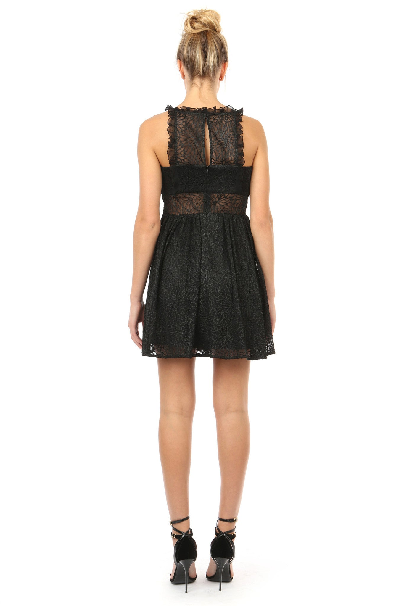 Jay Godfrey Black Lace Fit-and-Flare Dress - Back View