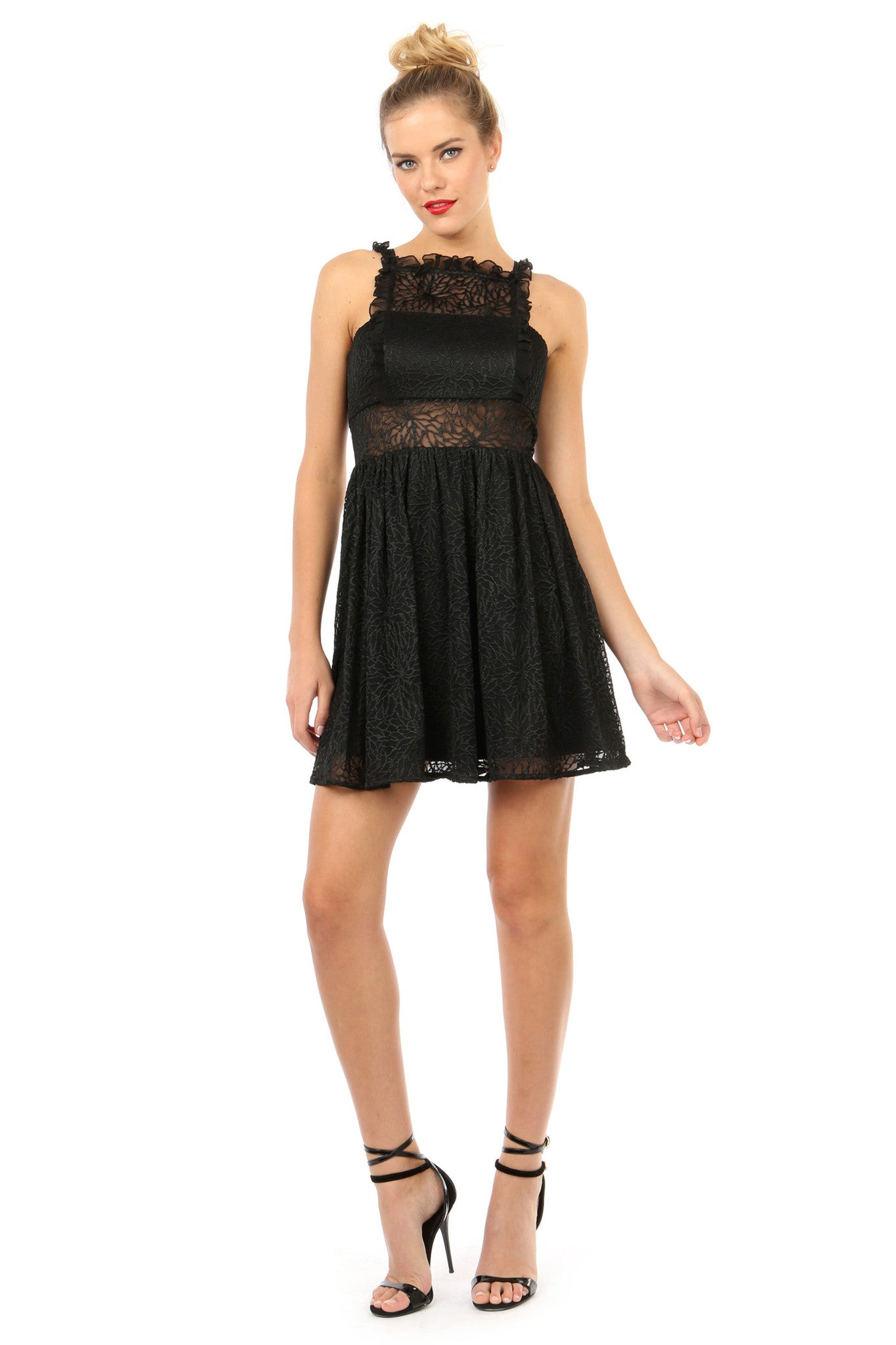 Jay Godfrey Black Lace Fit-and-Flare Dress - Front View