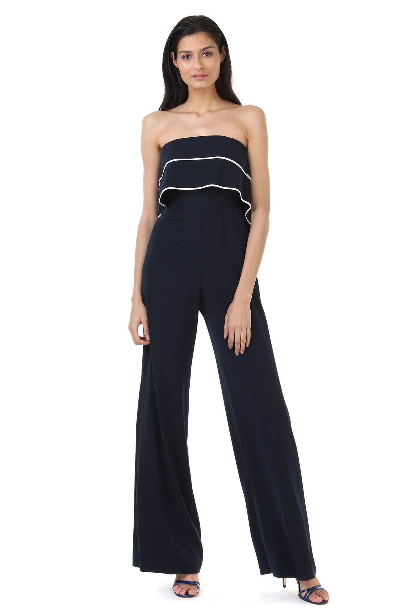 Strapless Navy Jumpsuit with Overlay - Front View